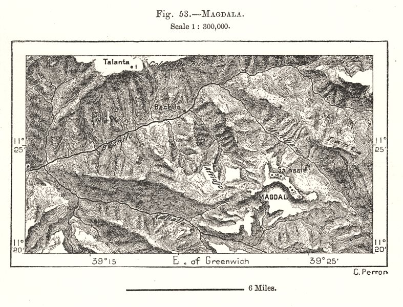 Associate Product Magdala. Ethiopia. Sketch map 1885 old antique vintage plan chart