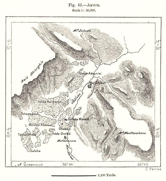 Aksum & environs. Ethiopia. Sketch map 1885 old antique vintage plan chart