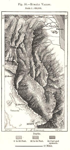 Kumaili Valley. Eritrea. Sketch map 1885 old antique vintage plan chart