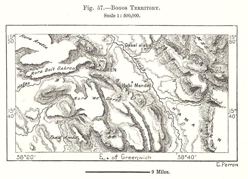 Associate Product Bogos or Bilen Territory. Eritrea. Sketch map 1885 old antique plan chart