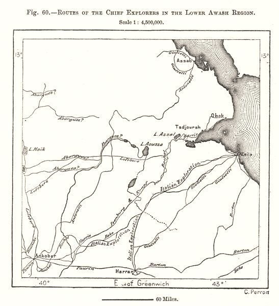 Associate Product Lower Awash Region explorers routes. Djibouti. Sketch map 1885 old antique