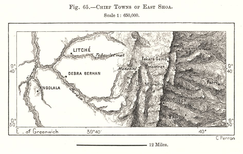 Associate Product Chief Towns of East Shewa. Ethiopia. Sketch map 1885 old antique chart