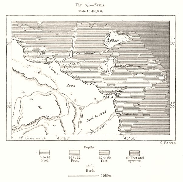 Associate Product Saylac. Somalia. Sketch map 1885 old antique vintage plan chart