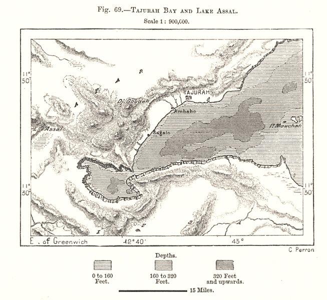 Associate Product Tadjoura Bay and Lake Assal. Djibouti. Sketch map 1885 old antique chart