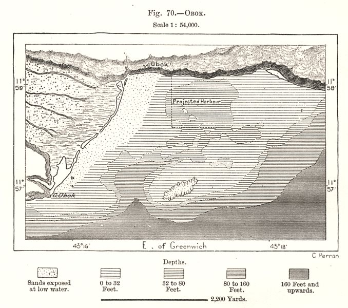 Associate Product Obock environs. Djibouti. Sketch map 1885 old antique vintage plan chart