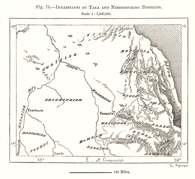 Associate Product Inhabitants of Taka and Neighbouring Districts. Eritrea. Sketch map 1885
