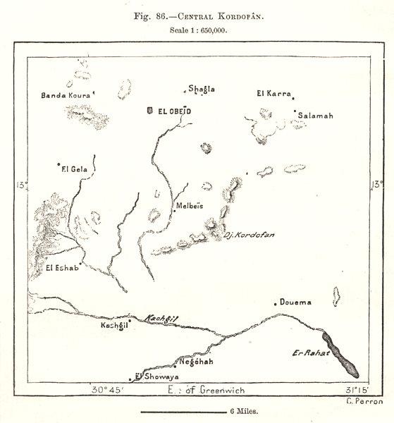 Associate Product Central Kurdufan. Sudan. Sketch map 1885 old antique vintage plan chart