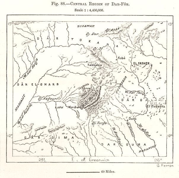 Associate Product Central Region of Darfur. Sudan. Sketch map 1885 old antique plan chart