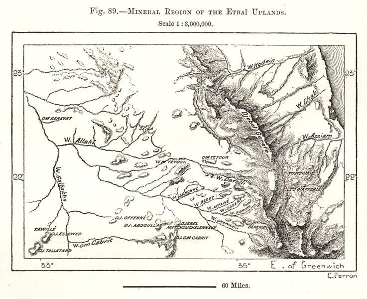 Associate Product Etbai Uplands mineral region. Hala'ib Triangle Gabal Elba Egypt. Sketch map 1885