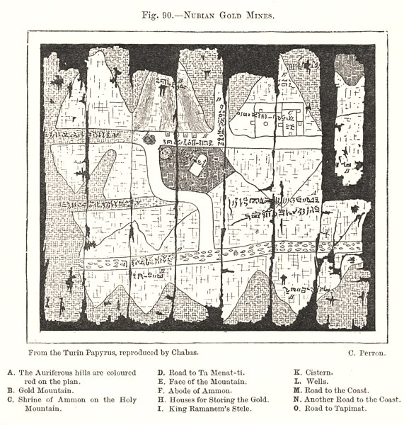 Associate Product Nubian Gold Mines. Sudan. Sketch map 1885 antique vintage plan chart