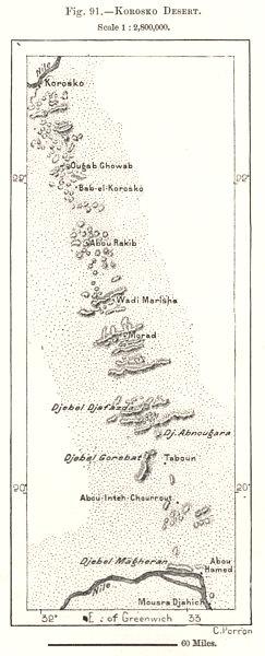 Associate Product Korosko Desert. Sudan. Sketch map 1885 old antique vintage plan chart