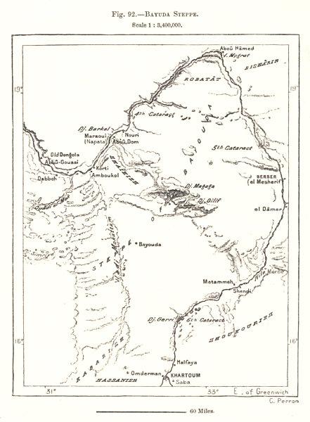 Associate Product Bayuda Steppe / desert. Sudan. Sketch map 1885 old antique plan chart