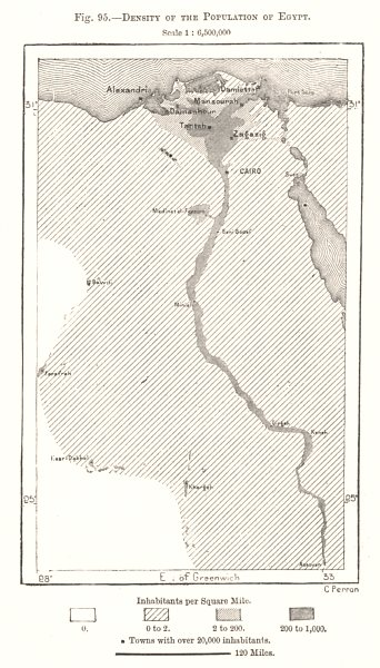 Associate Product Density of the Population of Egypt. Sketch map 1885 old antique plan chart