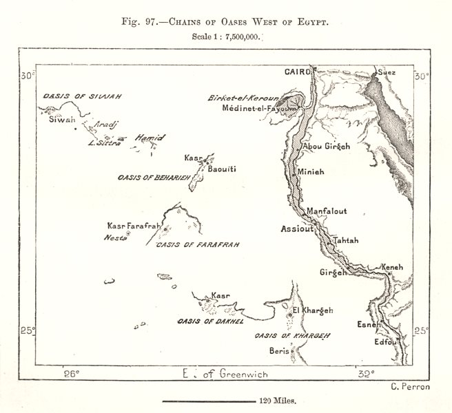 Associate Product Chains of Oases West of the Nile, Egypt. Sketch map 1885 old antique chart