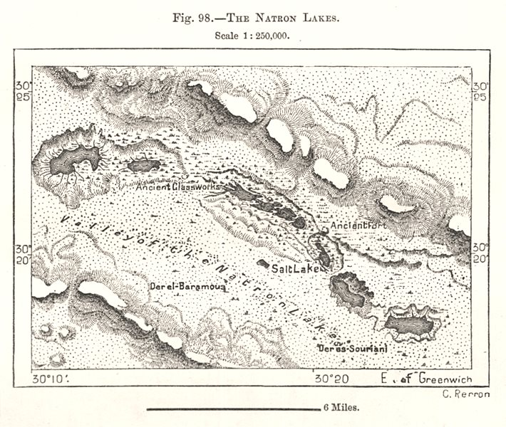 Associate Product Wadi El Natrun. The Natron Lakes. Egypt. Sketch map 1885 old antique chart