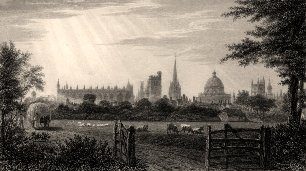 Associate Product View of Oxford, from the field beyond Holywell, by John Le Keux 1837 old print