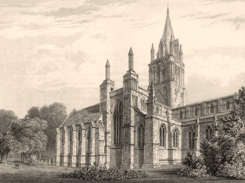 Associate Product The Cathedral from the N.W, Oxford, by John Le Keux 1837 old antique print