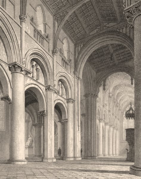 Associate Product Interior of the Cathedral, Oxford, by John Le Keux 1837 old antique print