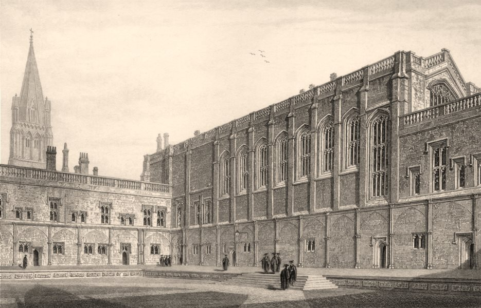 Associate Product The Great Quadrangle, Christ Church College, Oxford, by John Le Keux 1837