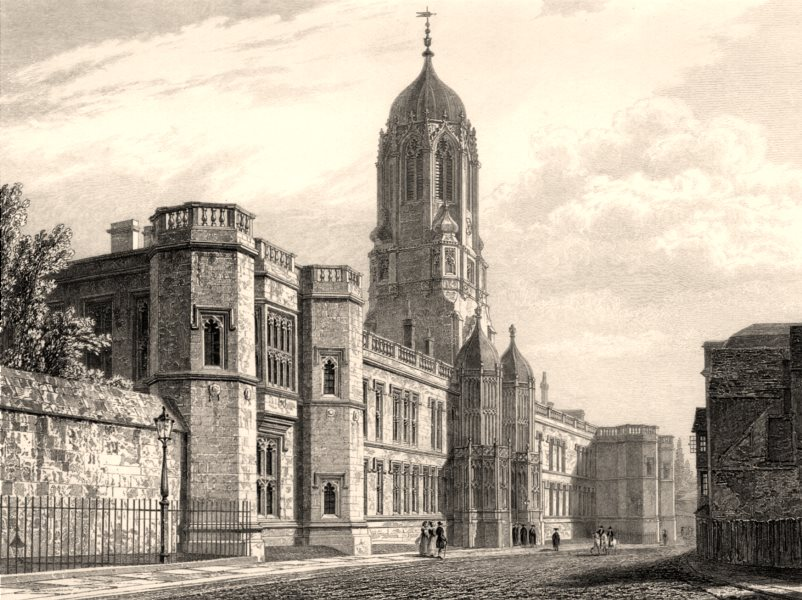 Associate Product West front of Christ Church College, Oxford, by John Le Keux 1837 old print