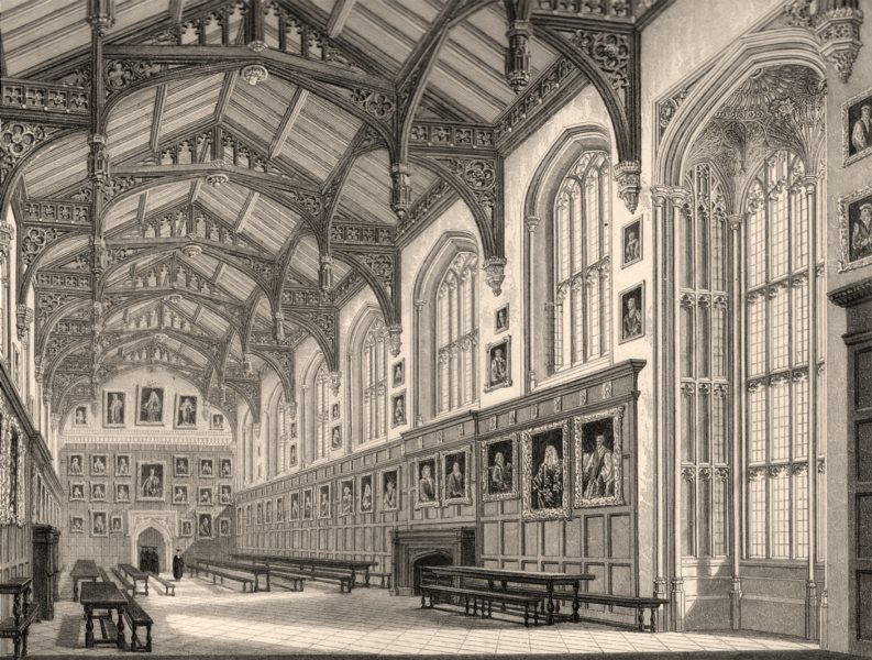 Associate Product Interior of the hall, Christ Church College, Oxford, by John Le Keux 1837