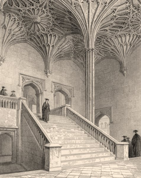 Associate Product Staircase to the hall, Christ Church College, Oxford, by John Le Keux 1837