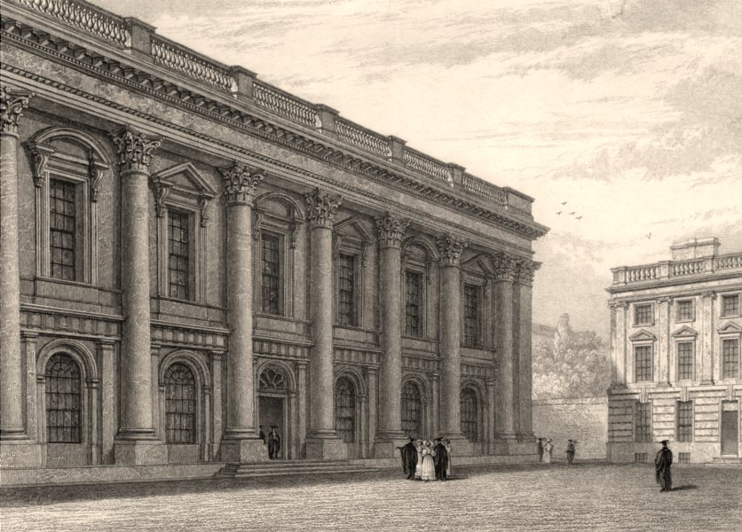 Associate Product The Library, Christ Church College, Oxford, by John Le Keux 1837 old print