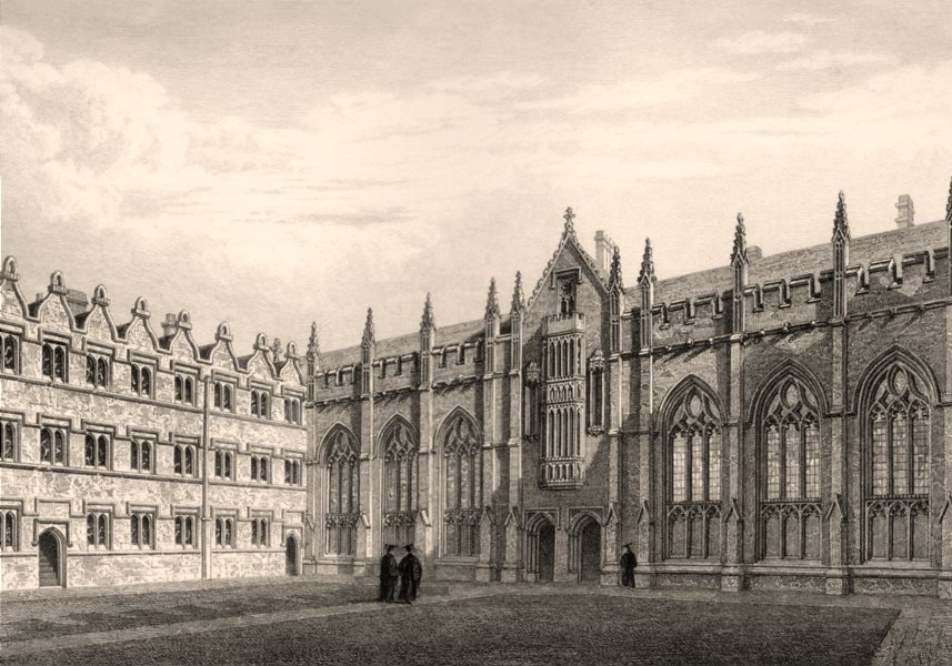 Hall & Chapel of University College, Oxford, by John Le Keux 1837 old print