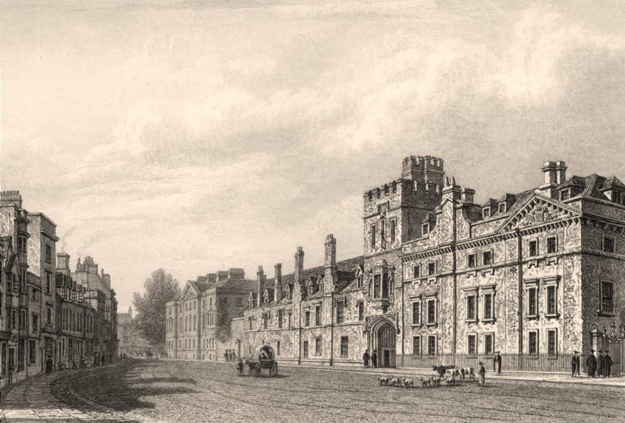 Associate Product Front of Balliol College, Oxford, by John Le Keux 1837 old antique print
