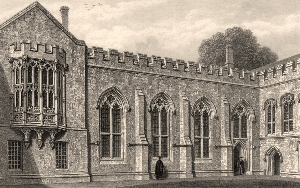 Associate Product Hall &c. of Balliol College, Oxford, by John Le Keux 1837 old antique print