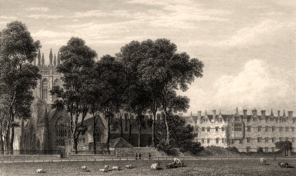 Associate Product Merton College, from the Fields, Oxford, by John Le Keux 1837 old print
