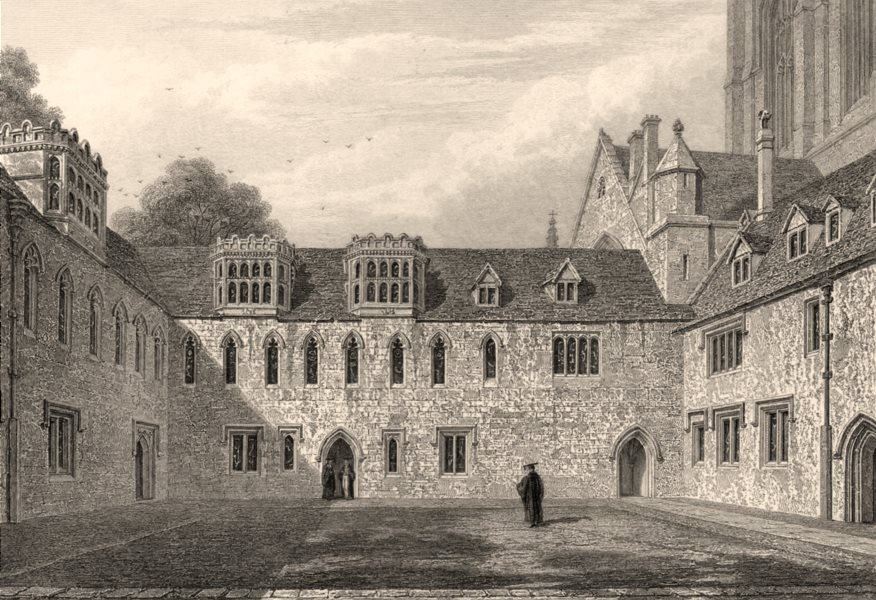 Associate Product The Library &c. Merton College, Oxford, by John Le Keux 1837 old antique print