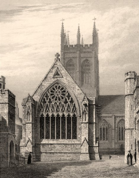 Associate Product Merton College Chapel, from the Quadrangle, Oxford, by John Le Keux 1837 print