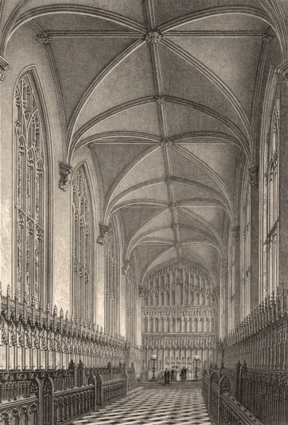 Associate Product Interior of New College Chapel, Oxford, by John Le Keux 1837 old antique print