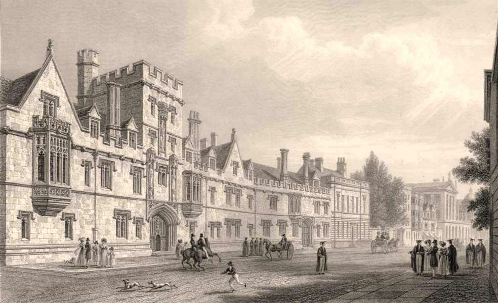 Associate Product South front of All Souls College, Oxford, by John Le Keux 1837 old print