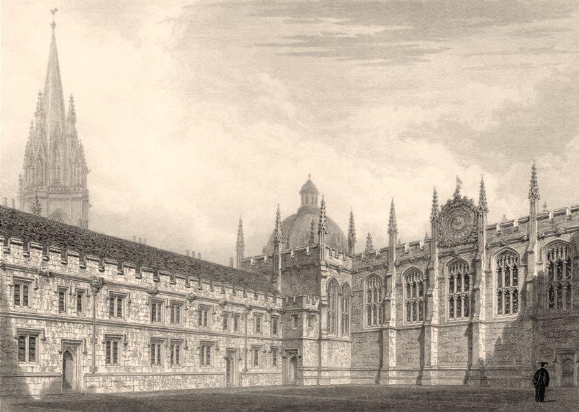 Associate Product The Chapel &c. All Souls College, Oxford, by John Le Keux 1837 old print