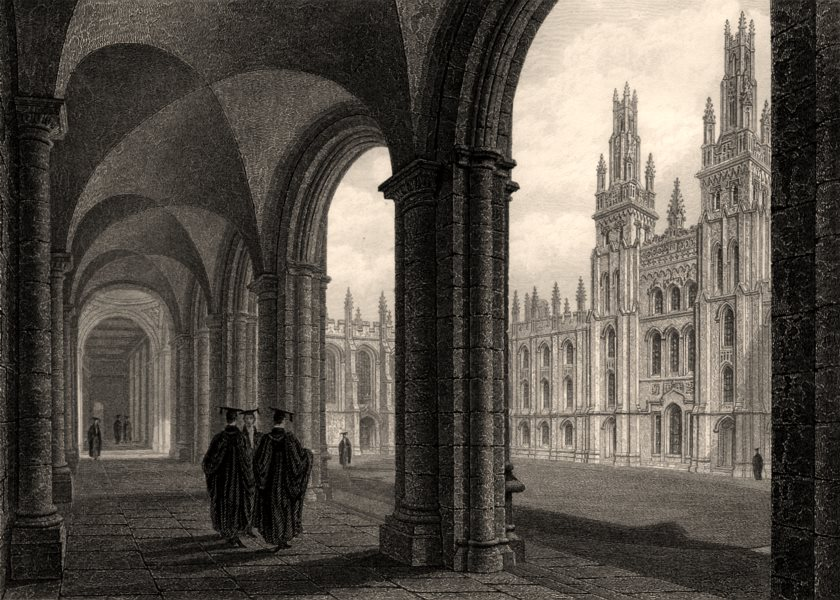 Associate Product The Cloister &c. of All Souls College, Oxford, by John Le Keux 1837 old print