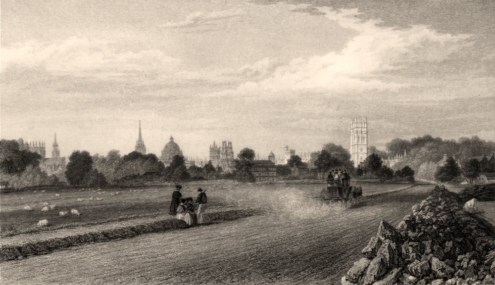 Associate Product View of Oxford, from the Henley Road, Oxford, by John Le Keux 1837 old print