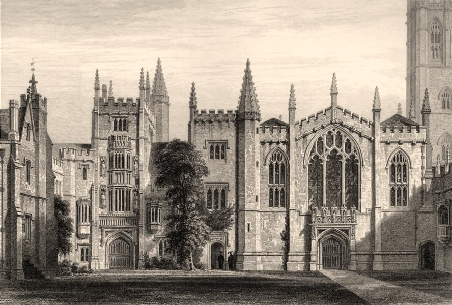 The west front of Magdalen College, Oxford, by John Le Keux 1837 old print