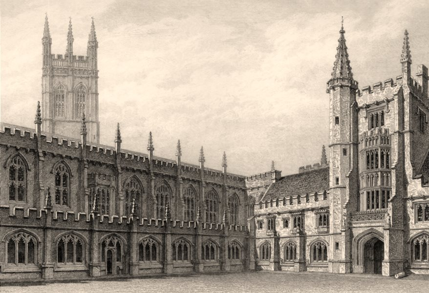 Associate Product The Cloister, Magdalen College, Oxford, by John Le Keux 1837 old antique print