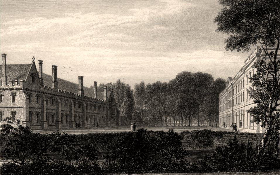 Associate Product Magdalen College from the Walk, Oxford, by John Le Keux 1837 old antique print