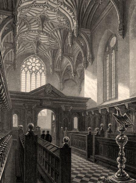 Associate Product Brasenose College Chapel, Oxford, by John Le Keux. Brazen Nose 1837 old print