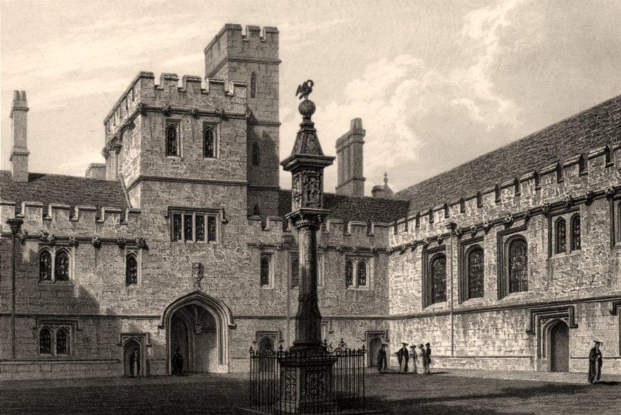 Associate Product The Quadrangle of Corpus Christi College, Oxford, by John Le Keux 1837 print