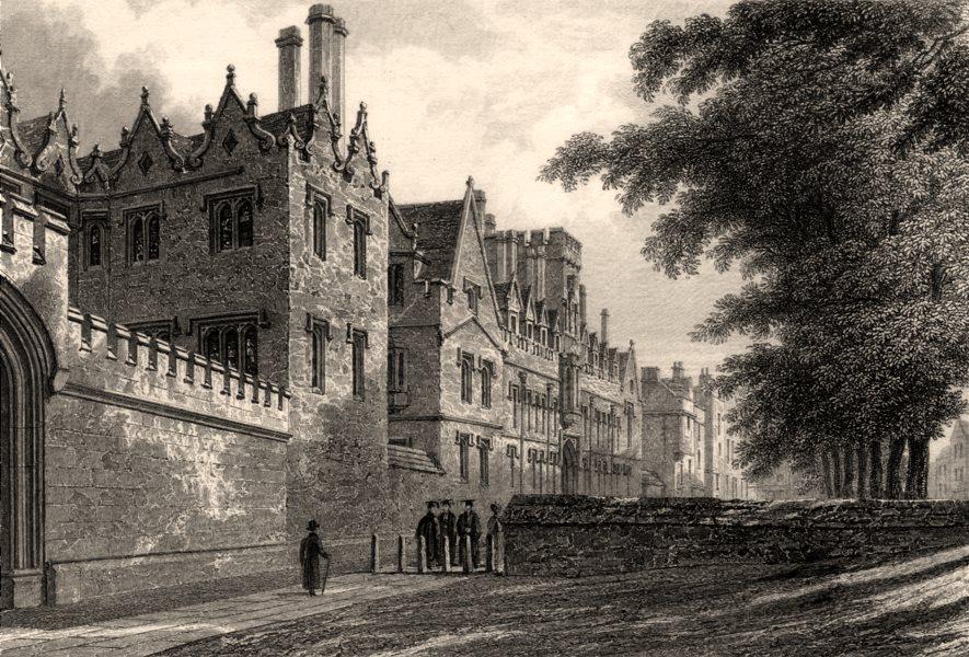 Associate Product Front of Saint John's College, Oxford, by John Le Keux 1837 old antique print