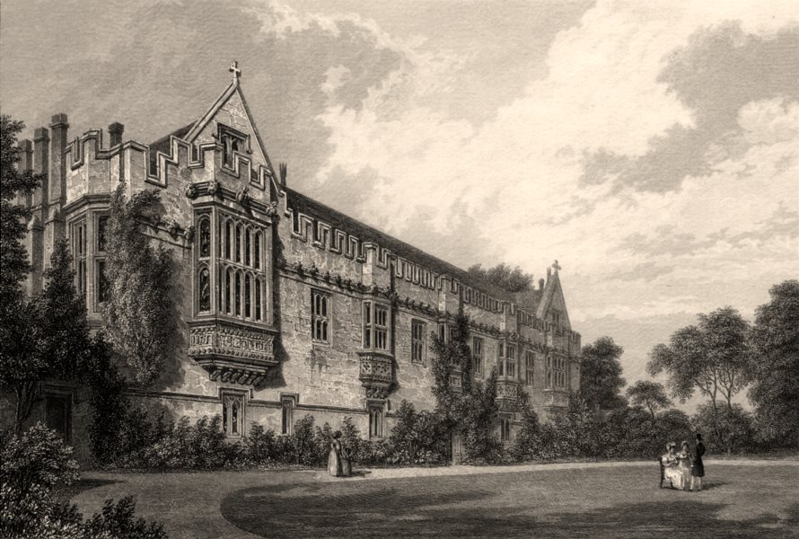 Associate Product Saint John's College from the garden, Oxford, by John Le Keux 1837 old print