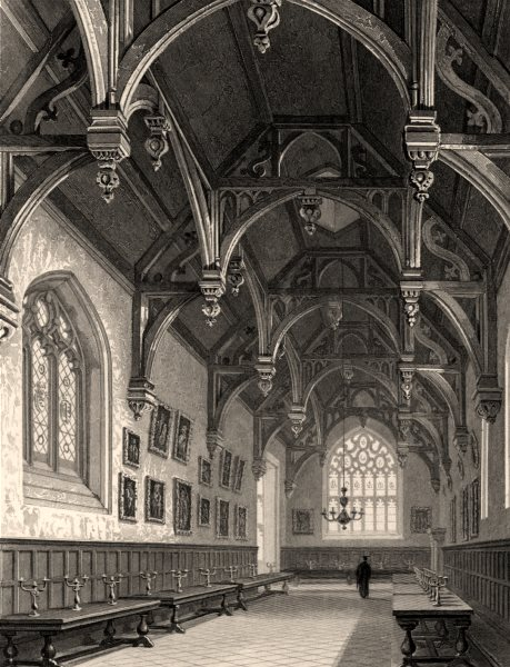 Associate Product The hall of Wadham College, Oxford, by John Le Keux 1837 old antique print