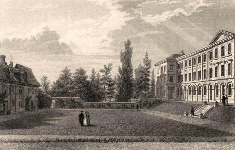 Associate Product Worcester College, Quadrangle looking west, Oxford, by John Le Keux 1837 print