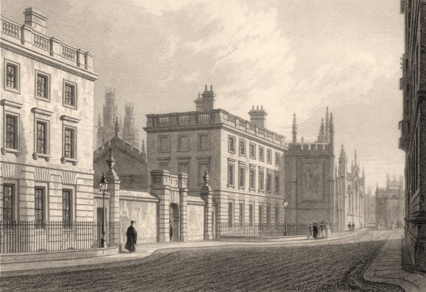 Associate Product Magdalen Hall, Oxford, by John Le Keux. Hertford College 1837 old print