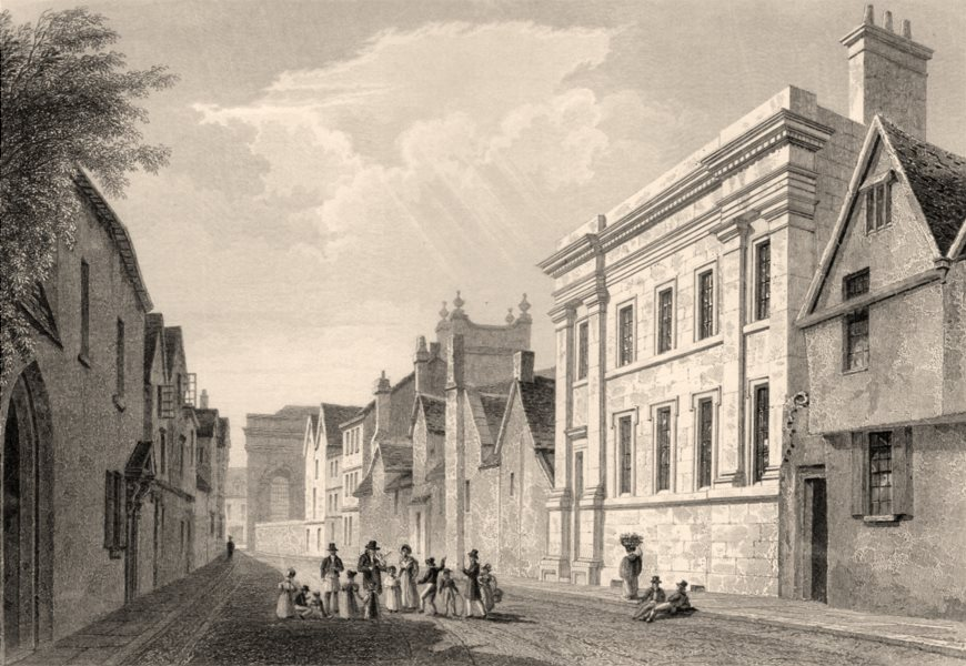 Associate Product New Inn Hall, Oxford, by John Le Keux 1837 old antique vintage print picture
