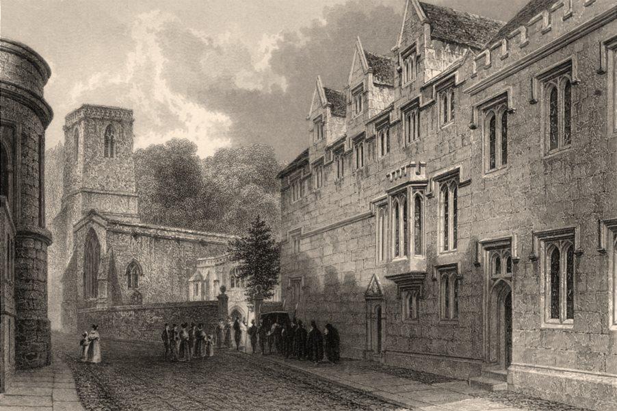 Associate Product St Edmund Hall, Oxford, by John Le Keux 1837 old antique vintage print picture